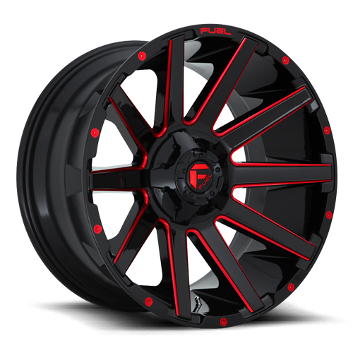 Contra - D643 Gloss Black w/ Candy Red 6 lug
