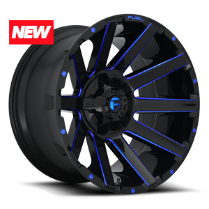 CONTRA - D644 Gloss Black w/ Candy Blue 8 lug