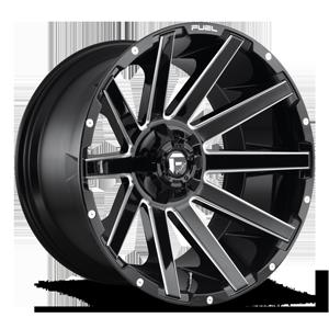 Contra - D615 22x12 -44 | 6 Lug | Gloss Black & Milled 6 lug