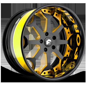 CAPOLAVARO Black/Yellow Center, Custom Lip 5 lug