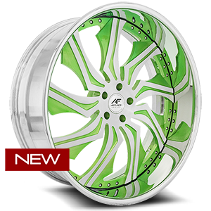Chopper Brushed face w/ green accents, chrome lip 5 lug