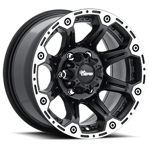 Torque Flat Black with Machined Outer Lip and Satin Clear 6 lug