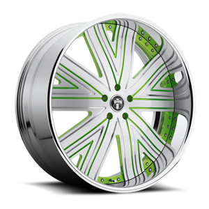 DUB Forged Draft - X88 5 Brushed Face w/ Green Accents and Chrome lip