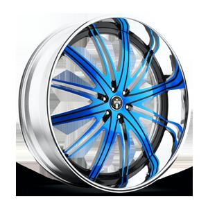 Flex - C22 Blue w/ black accents, chrome lip 5 lug