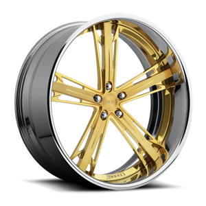 Malice - X83 Brushed w/ hi-luster windows & gold tint and chrome 5 lug