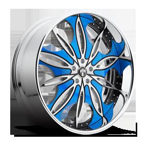 Trip - X89 Brushed w/ black & blue accents, chrome lip 5 lug