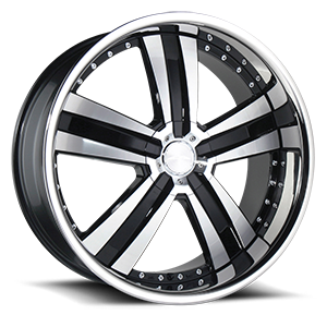 Deluxe Black Machined w/ Stainless Lip 5 lug