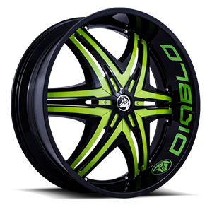 Diablo Wheels Elite 5 Black w/ Green Inserts