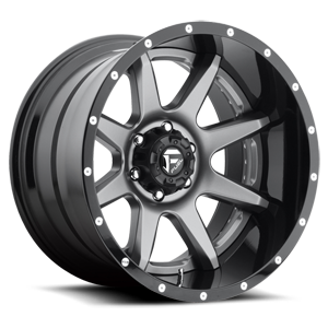 Rampage - D238 Anthracite center, gloss black lip 8 lug
