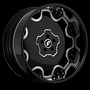FIORE Black/Chrome Center, Black Lip 5 lug