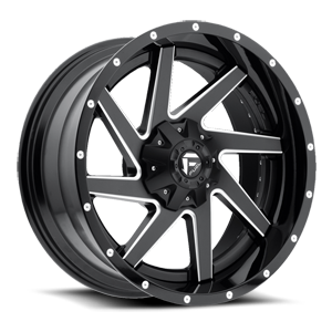 Renegade - D265 Black & Milled Center and Gloss Black Outer 8 lug