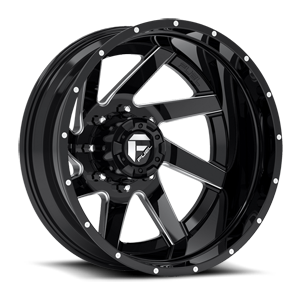 Renegade Dually Rear - D265 Black & Milled Center and Gloss Black Outer 8 lug