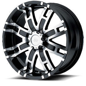HE835 Gloss Black Machined 6 lug