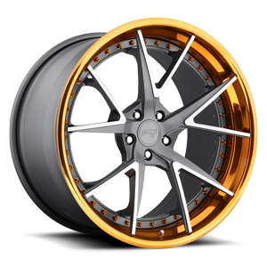 Ibiza Textured Gun Metal | Brushed Elevated Spokes | Trans Copper 5 lug
