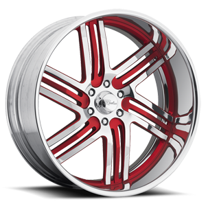 Majestic Chrome with Red Inserts 6 lug