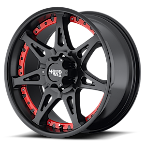MO961 Satin Black with Red Inserts 6 lug