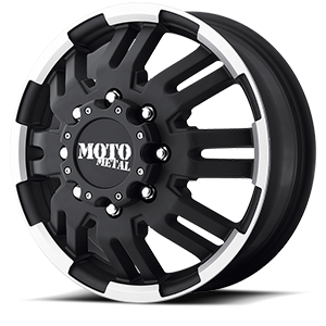 MO963 Dually Matte Black Machined 8 lug