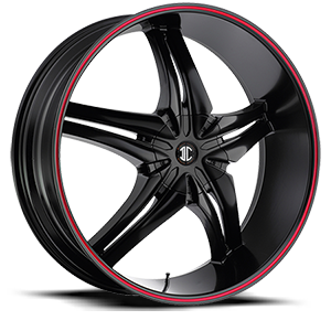 2 Crave Alloys No15 6 Black w/Red Stripe
