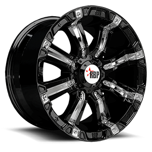 94R Gloss Black with Chrome Inserts 8 lug
