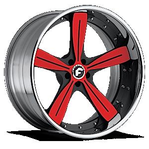 RITORNO Red/Black Center, Chrome Lip 5 lug