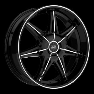 S828 Crown Gloss Black w/ Chrome Inserts 5 lug