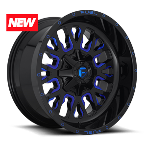 STROKE - D645 Gloss Black w/ Candy Blue 8 lug