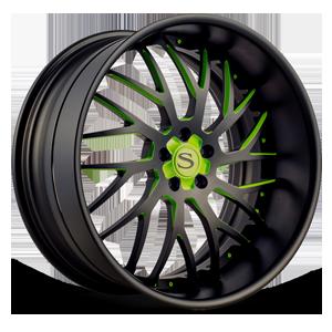 SV70-XLT Matte Black w/ Green Accents 5 lug