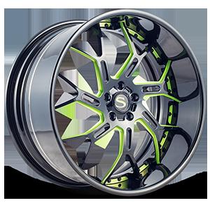 SV72-XLT Gloss Black w/ Green Accents 5 lug