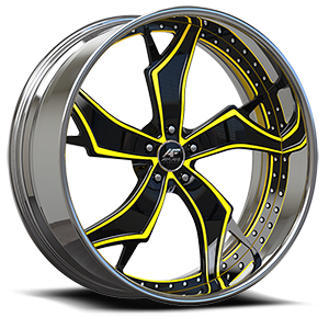 Stilletto-P Chrome w/Black (Paintable) Inserts 5 lug