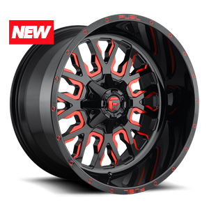 Stroke - D612 Gloss Black w/ Candy Red 5 lug