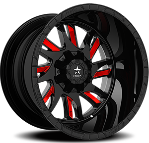 69R SWAT Gloss Black with Red Inserts 8 lug