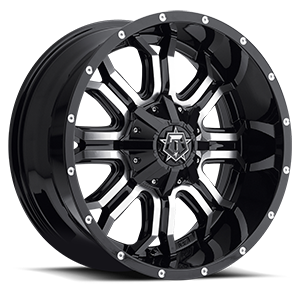 535 Gloss Black with Machined Face and Chrome Star Cap 6 lug