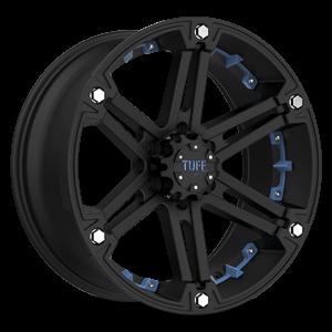 T-01 Flat Black w/ Blue Inserts 6 lug