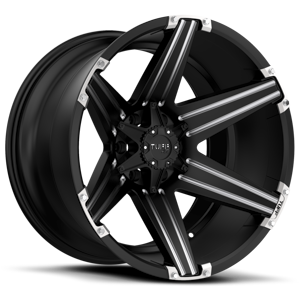 T-12 Satin Black with Milled Accents 5 lug