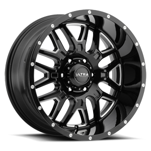 203 Hunter Gloss Black with Milled Accents and Clear Coat - 20x10 6 lug