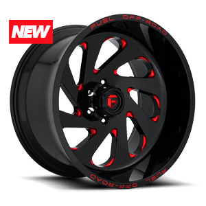 Vortex - D638 Gloss Black w/ Candy Red 6 lug