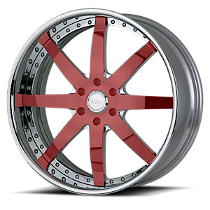 VSG Chrome and Red with Chrome Lip 5 lug