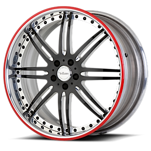 VSI Black and Chrome with Red Pinstripe 5 lug