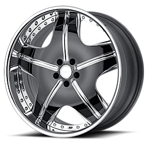 VSR Polished Black with Chrome Lip 5 lug