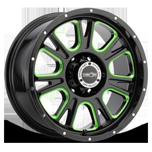 399 Fury Gloss Black Ball Cut Machined with Green Tint 6 lug
