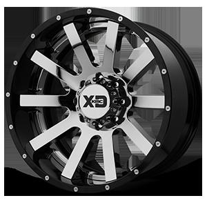 XD200 Heist Chrome Center w/ Gloss Black Milled Lip 8 lug