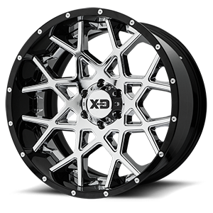 XD203 Chopstix Chrome Center w/ Gloss Black Milled Lip 6 lug