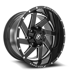 XF Off-Road XF-205 6 Black Milled Complete Window - 22x12