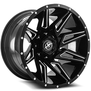 XF-218 Gloss Black Milled - 22x12 5 lug