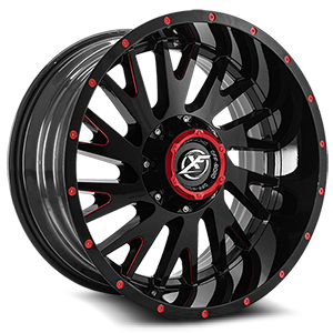 XF-221 Gloss Black w/ Red Milling - 20x10 5 lug