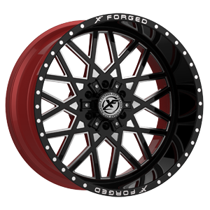 XFX-307 Black Red Machined 6 lug