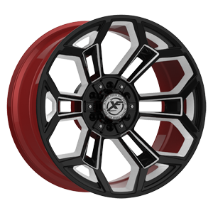 XFX-308 Black Red Machined 6 lug