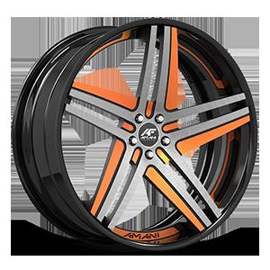 Tesla Concave Black and Orange with Black LIp 5 lug