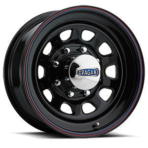 Series 342 D Window Gloss Black with Red and Blue Stripe 8 lug