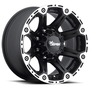 Torque Flat Black with Machined Outer Lip and Satin Clear 8 lug